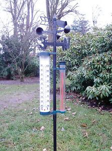 XL Garten Wetterstation Garten Barometer Regenmesser Thermometer Wetterfahne