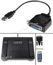 ECS IN-DB15 Transcription Foot Pedal and DB15FUSB Game Port to USB Adapter