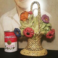 "10"" antique cast iron doorstop garden flower basket home bouquet vtg cottage art"