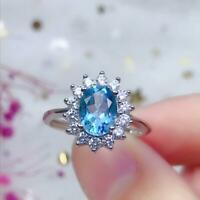2.50Ct Oval Cut Blue Topaz Diamond Halo Anniversary Ring 14K White Gold Finish