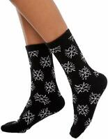 Charter Club Super Soft Snowflake Black Socks OS