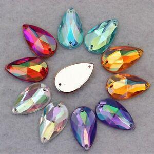 DIY 13*21mm Large Crystal AB Sewing Drop Rhinestones Applique Acrylic Flatback