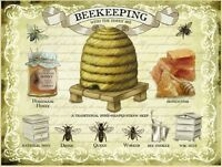 New 30x40cm Beekeeping With The Honey Bee large metal advertising wall sign