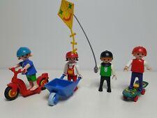 Lote Niños Playmobil Parque Infantil Niño NIña Patinete Cometa Monopatin Skate