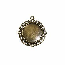 20 x Antique Bronze Cabochon Cameo Setting Pendant 20mm Tray 01