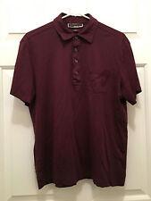 Michael Kors Men's Burgundy Red Short Sleeve Four Button Polo Shirt Large