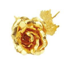 24cm Handcraft Handmade Gold Foil Rose Flower Dipped Long Stem Lovers Gift Gold