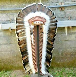 Headband Feather Indian Turkey Brown Native Warbonnet Replica Headdress Handmade