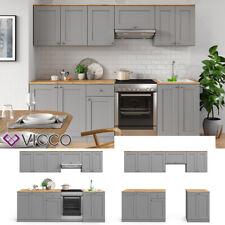 Küchenzeile Einbauküche Komplettküche Küche Cambridge Landhaus 240cm Grau Vicco