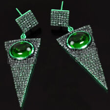 Silver Vintage Arrowhead Earring Jewelry 4.57Ct Rose Cut Diamond Emerald Studded