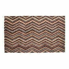 Natural Cotton Zig Zag Doormat Washable Mat Dirt Trapper + anti-slip backing