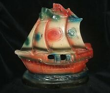 Vintage Chalkware Clipper Columbus Ship Door Stop Book End circa 1935 - 1945
