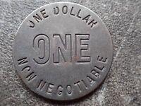 Steel One Dollar $1 Non Negotiable Slot Machine Token!
