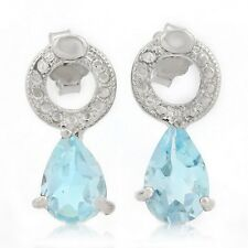 Ohrringe/Ohrstecker Tessa, 925er Silber, 1,62 Kt. echter Blautopas/Diamant