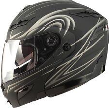 XL GMAX GM54S DERK FLAT BLACK/SILVER MODULAR  Helmet LED Motorcycle