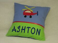 CHILD'S/BOYS PERSONALISED NAME CUSHION COVER/NURSERY/SHOWER/GIFT  - HELICOPTER -