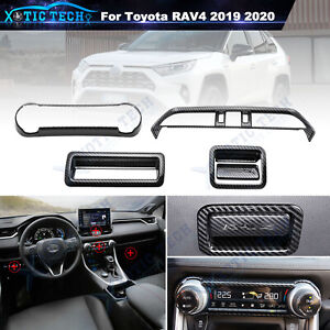 5pcs Carbon Fiber Style Car Decor Interior Cover Trim For Toyota RAV4 2019 2020