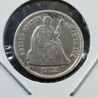 1872 P Liberty Seated Half Dime Silver Coin Fine / VF Detail Clean Shiny Bargain