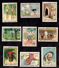 French Equatorial Africa I Gabon Congo Tchad 1938 Chocolate Cards Map AEF Bateke