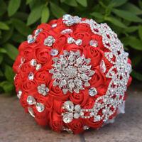 "8"" Red Bridesmaid Brooch Jewelry Bouquet Sparkle Rhinestone Wedding Silk Roses"