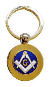 "Square & Compasses with ""G"" Circular Brass Masonic Key Fob"