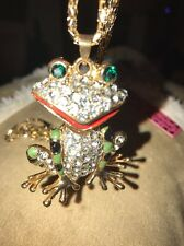 Betsey Johnson Necklace Green Black Tree Frog Arms Move