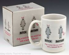 Bitch Bastard Husband Wife Couples Tea Coffee Mug Cup Adult Novelty Gift Boxed