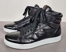 Prada Linea Rossa High Top Sneaker Black Soft Leather Mens Size US 7 / UK 6