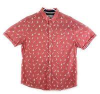 Cactus New York Mens Shirt Light Red Sailboats Short Sleeve 100% Cotton Size XL