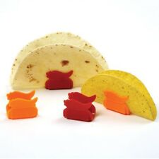 Norpro Taco Tortilla Shell Stand Holder Prop 8 Set Microwave Safe Red Orang