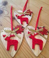 3 X Retro Christmas Decorations Reindeer Rustic Nordic Real Wood Handmade Red