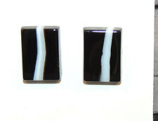 Black and White Agate 10x14mm with 3mm dome Cabochons Set of 2 (10615)