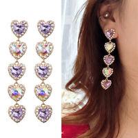 Women Purple Crystal Earrings Tassels Heart Dangle Ear Stud Wedding Jewelry Gift
