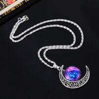 1 Mode Damen Halskette Filigran Mond Fuchsie Blau Himmel Anhänger 48.5cm