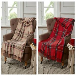 Cotton Throw Blanket In Red Or Natural Tartan Check Design Warm Chair Or Sofa