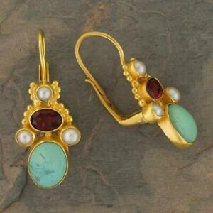 Polly Peachum Turquoise, Garnet and Pearl Earrings: Museum of Jewelry