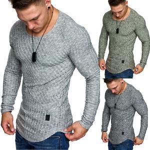 Herren Oversize Slimfit Muscleshirt Feinstrick Pullover Sweatshirt Crewneck 6039