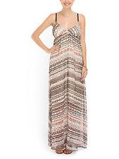 NWT Gypsy05 Triangle Cup Ikat Print Silk Chiffon Thin Strap Maxi Dress S