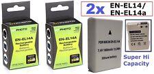 2-Pcs Hi Capacity Lithium Ion Battery for Nikon D5100 D5200 D5300