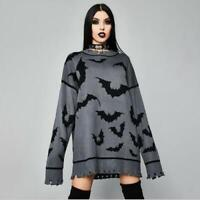 Women's Gothic Bat Long Sleeve Ripped Frayed Pullover Knitted Loose Sweater SKGB