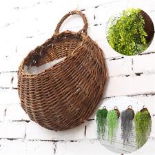 Natural Wicker Handmade Wall Mounted Hanging Basket Plant Flower Pot Home Garden