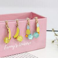 E1195 Betsey Johnson Dangling Pineapple / Banana Fruit Drop Earrings US