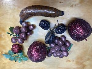 Vtg Lot Push Pin Fruit Strawberries Apple Grapes Dates Banana UNIQUE see pics
