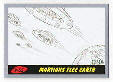 Topps Mars Attacks Revenge Silver Parallel Pencil Card Martians Flee P-53 02/10