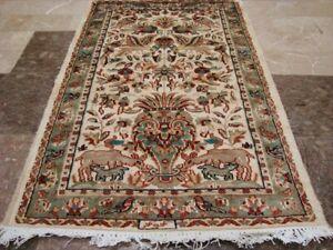 Love Tree of Life Peace Deer Bird Hand Knotted Rug Wool Silk Carpet (4 x 2.6)'