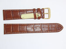 "Brown Gold Watch Band ""Bali"" w/st Di-Modell Calf Leather Alligator Grain 20 mm"