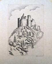 eau-forte, Château dans les hauteurs enneigées, Morin-Jean, vers 1930