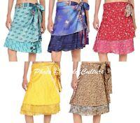 Wholesale Lot 05 PC Vintage Silk Sari Wrap Skirts Reversible Dress Silk Skirts