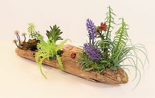 "DRIFTWOOD ART FLORAL ARRANGEMENT CENTERPIECE FAUX SUCCULENTS GREENERY 17"" LONG"