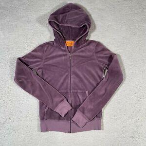 Juicy Couture Jacket Womens Small Purple Velour Track Full Zip Up Hood Hoodie